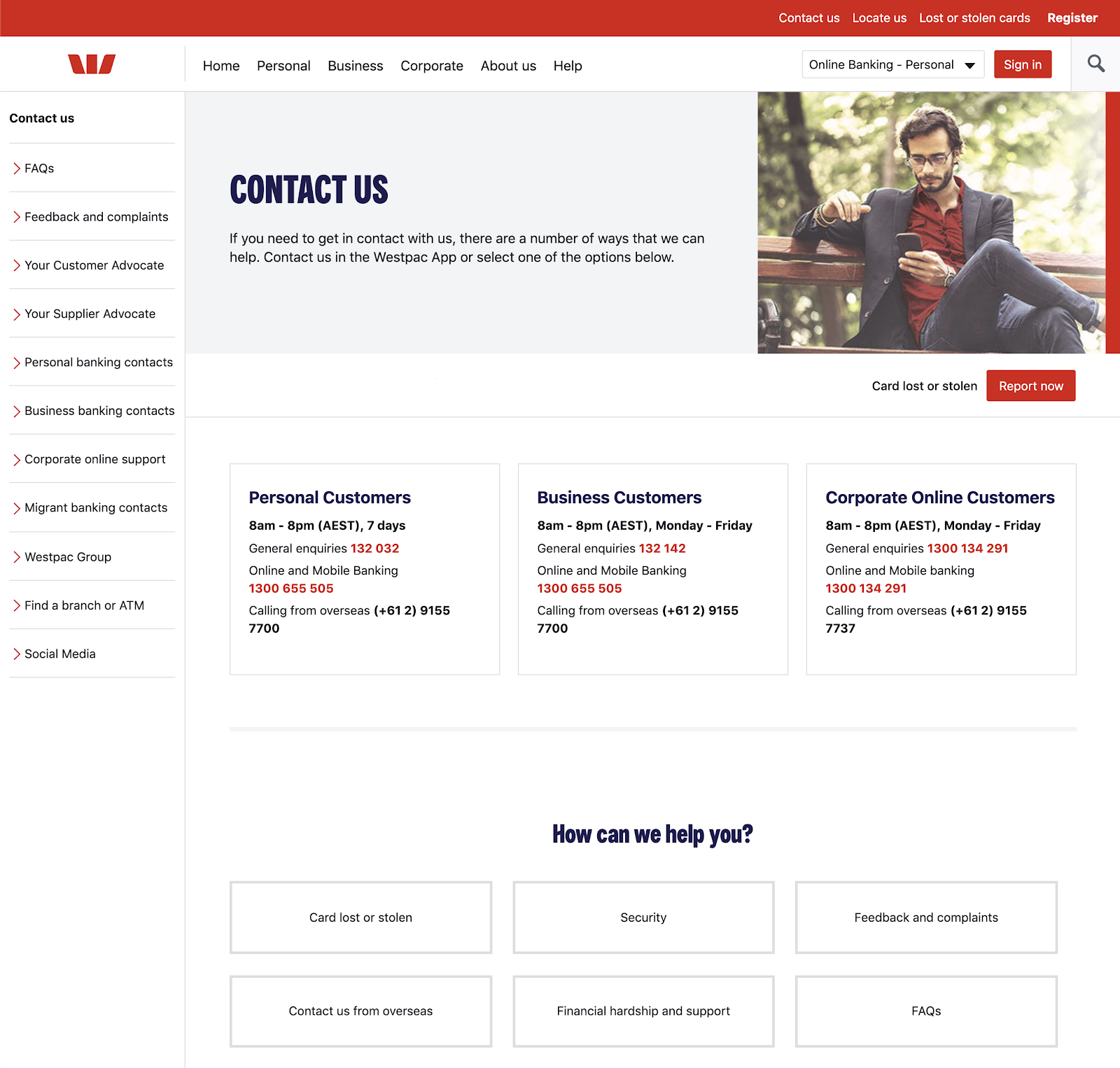 Westpac contact us page