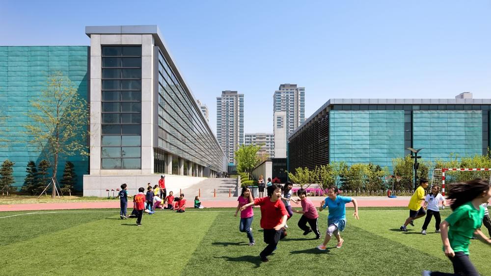 Chadwick International school. Children playing outside.