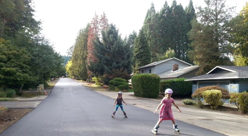 Children rollerblading in West Linn, OR