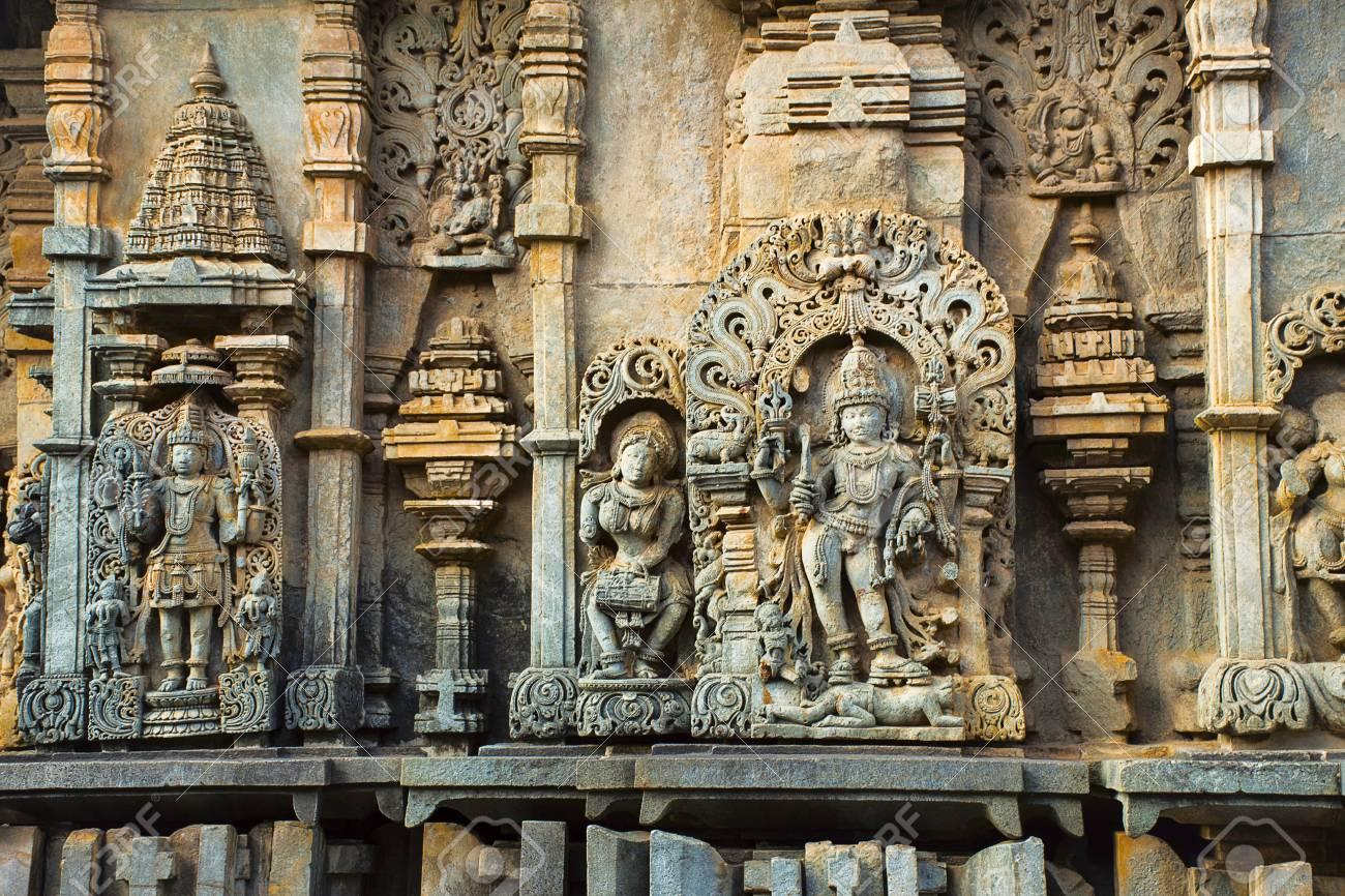 The Chennakesava exterior. Notice the colour changes in the soapstone and bluish tinges on the left