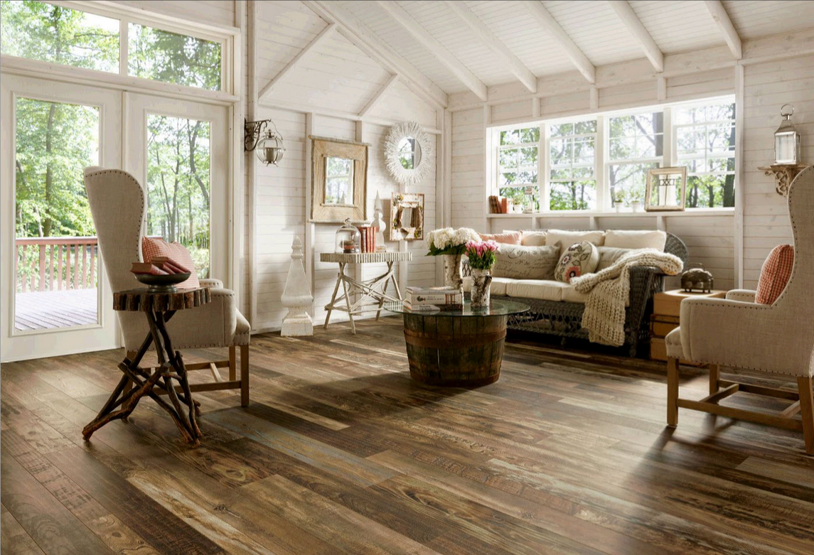 wide plank wood interior design