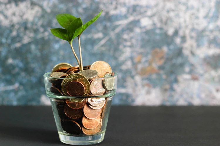 Financial investment concept with coins in a vase.