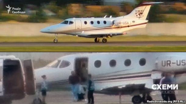 Ігор Кононенко виходить з приватного літака. Аеропорт «Київ»
