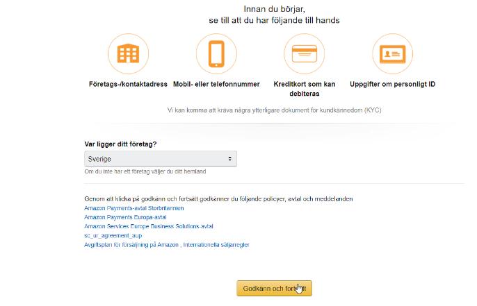 Skapa ett säljarkonto hos Amazon och ange företagsinformation