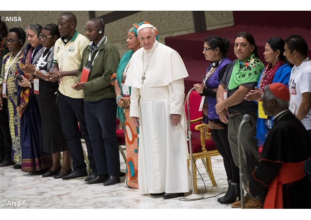 Pope Francis during an audience with participants of the Third World Meeting of Popular Movements on Saturday. - ANSA
