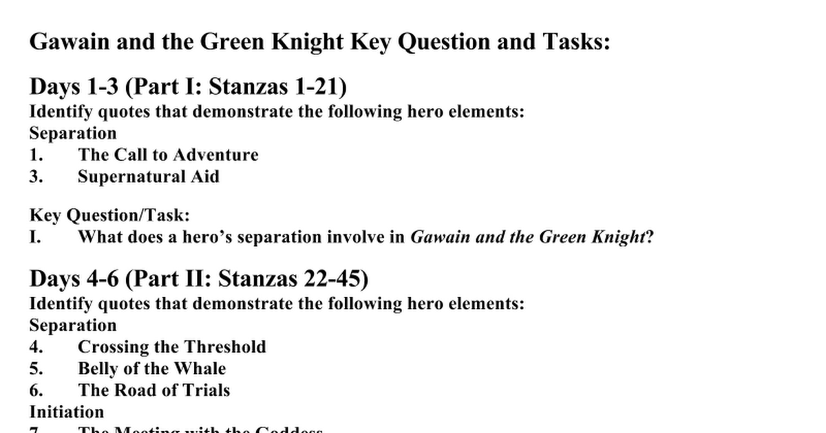 gawain and question Edition of sir gawain and the green knight was translated by romance by the gawain poet translated by john gardner a question a good medieval knight.