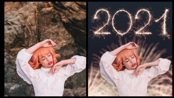 antes e depois da foto de uma mulher ruiva sendo que uma das fotos o fundo são fogos de artífico com 2021 escrito