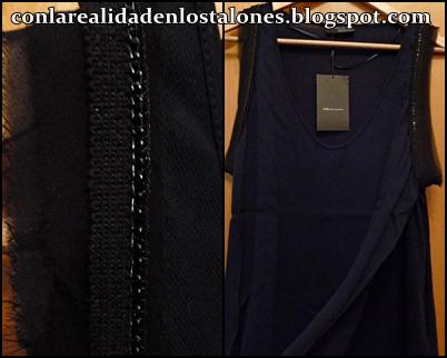 Top Azul oscuro con detalles negros Zara