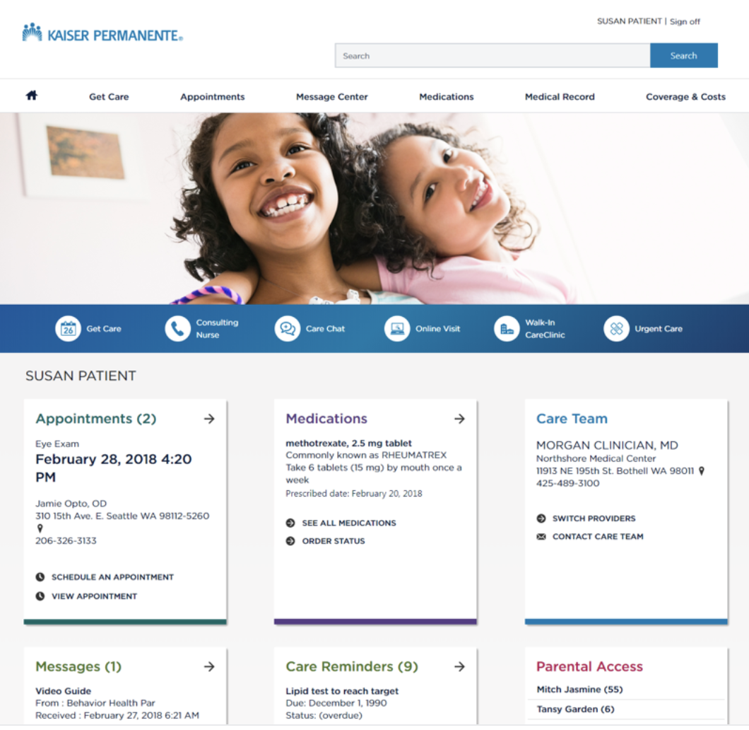 Kaiser Permanante healthcare UX design for website