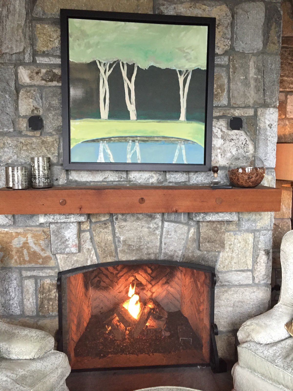 Stone Fireplace Burning