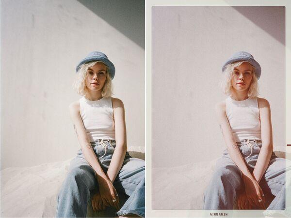Mulher editada com filtro do airbrush