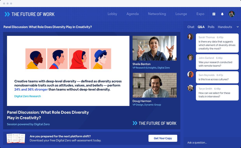Screenshot of the BigMarker Virtual Event Platforms