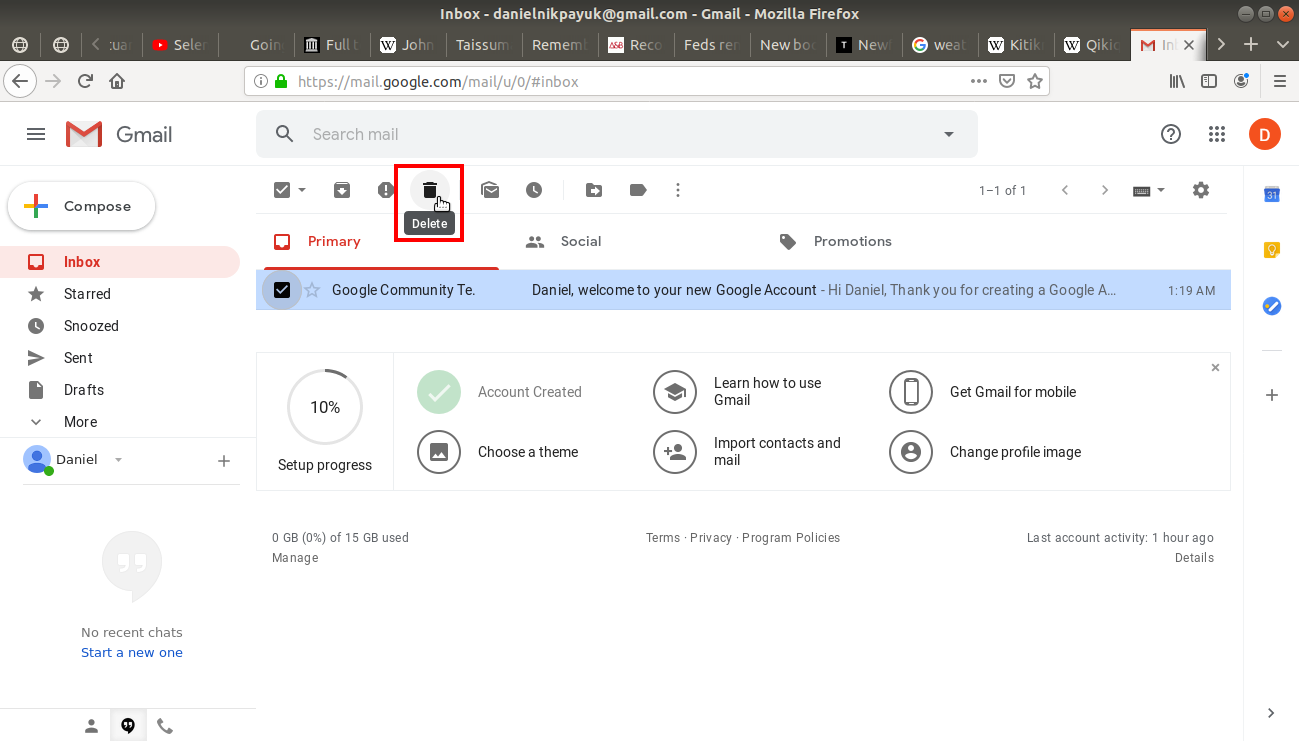 Delete button on tool bar highlighted on Gmail