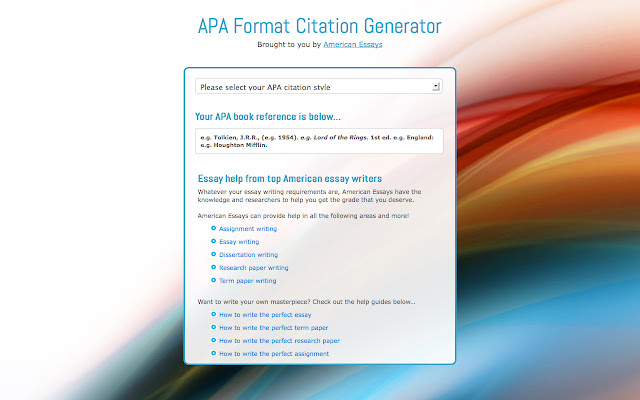 references in apa format generator Apa (american psychological association) style is most commonly used to cite sources within the social sciences this resource, revised according to the 6th edition, second printing of the apa manual, offers examples for the general format of apa research papers, in-text citations, endnotes/footnotes, and the reference page.