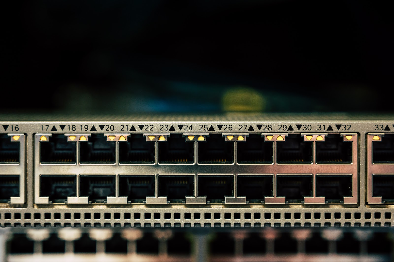 Close-up shot of a network switch
