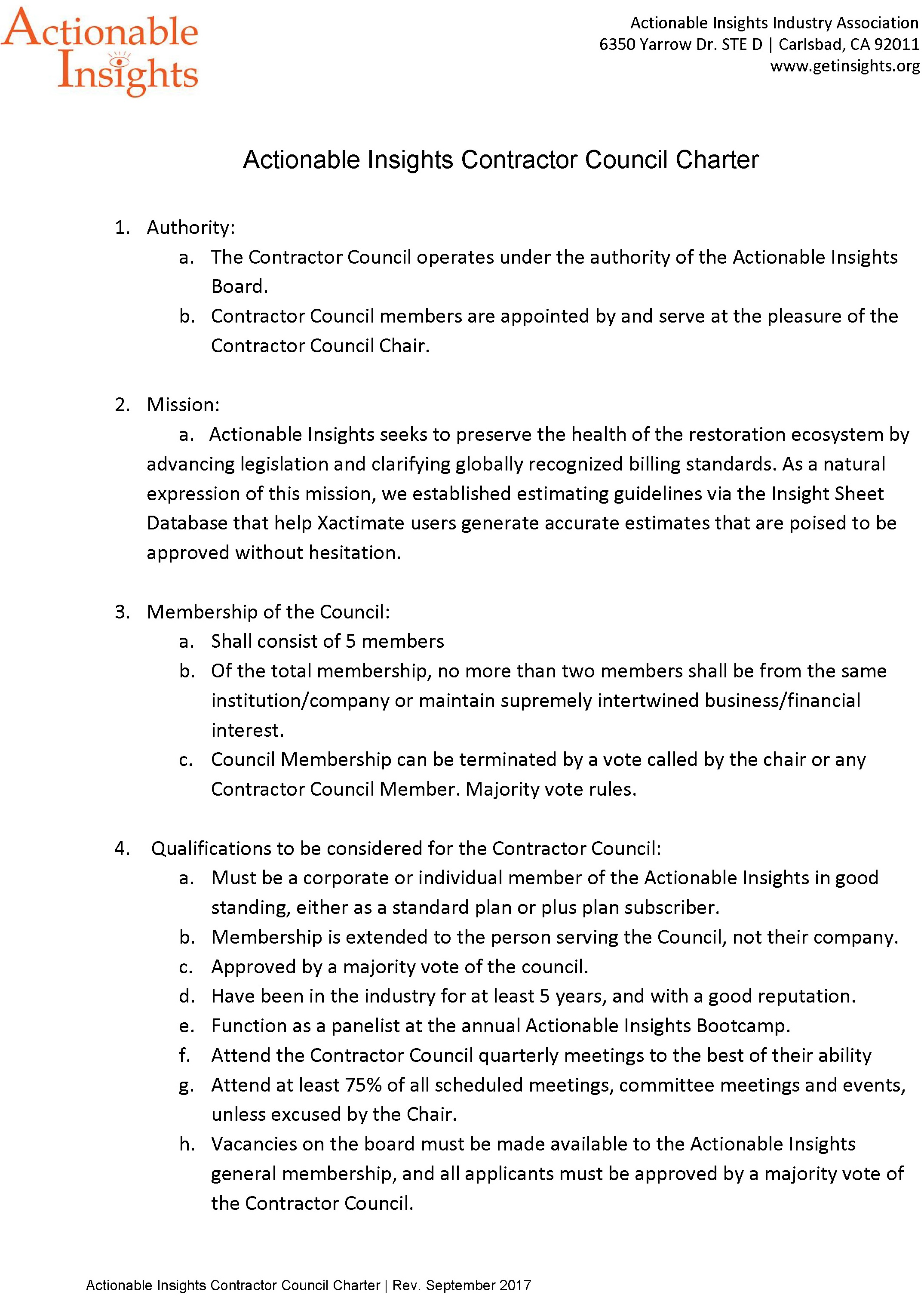 Contractor Council Charter (page 1 of 2)