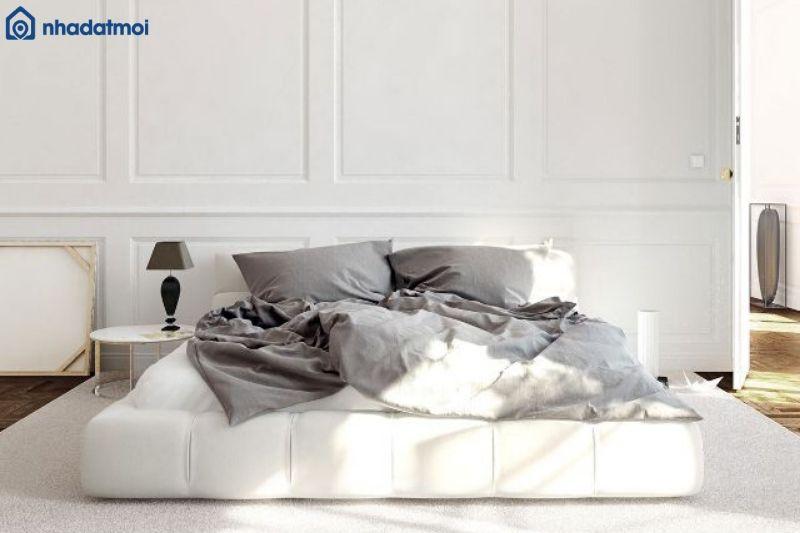 Ga giường màu xám sẽ thật sự nổi bật giữa một căn phòng màu trắng