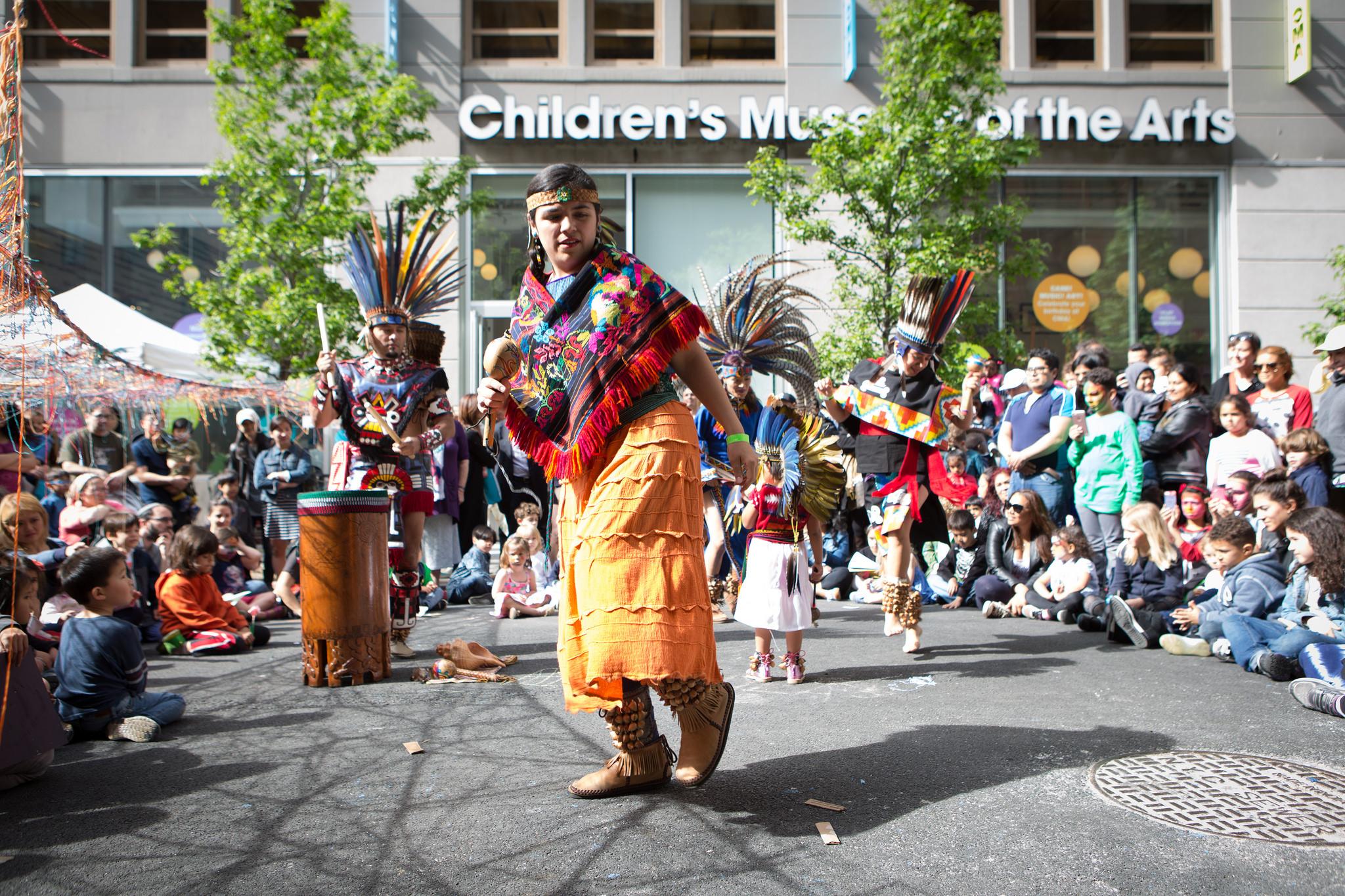Kalpulli Huehuetlahtolli, a Danza Mexica group performing at CMA Kids Fair 2016