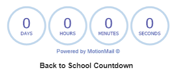 Back to School Countdown counter image: zero days, zero hours, zero minutes, zero seconds