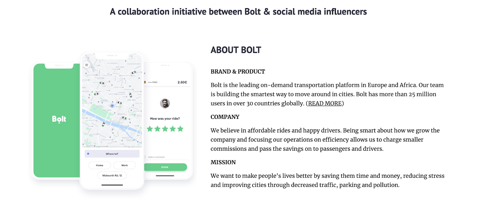 A sample of Bolt's page dedicated to communicating their brand ambassador program