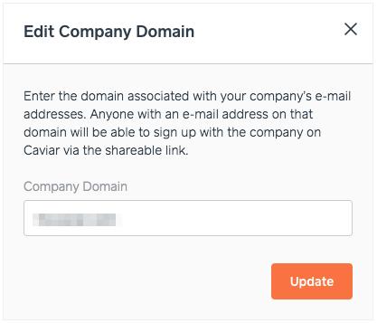 Caviar | Editing Company Domain Address