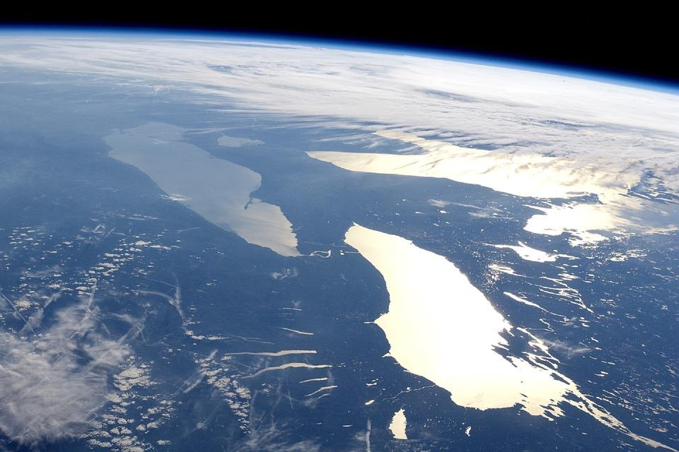 Space view of the Great Lakes of North America