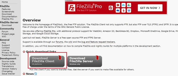 Downloading filezilla Client