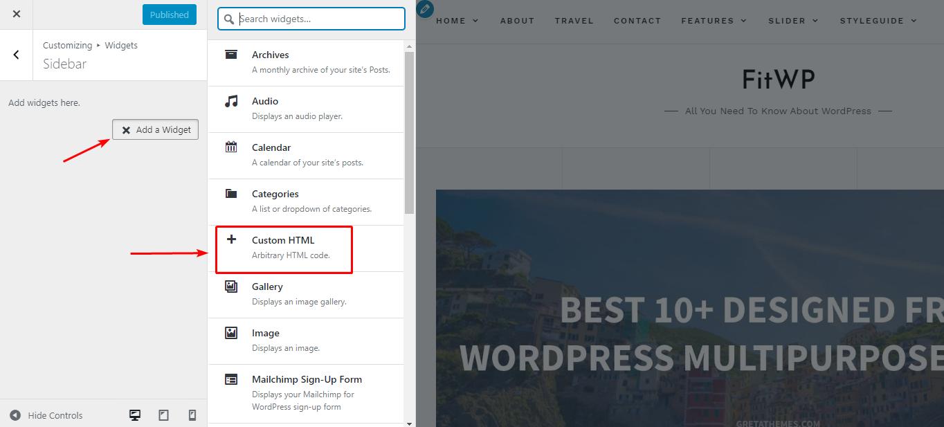 Dùng HTML editor trong Customizer
