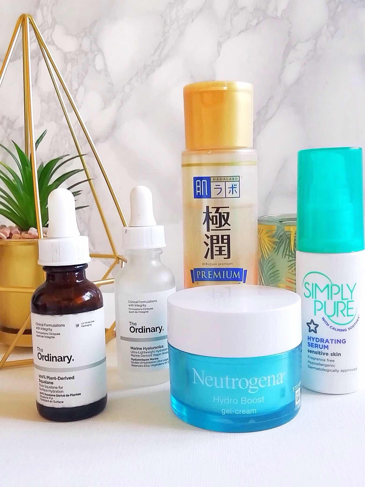 skincare products featuring the ordinary marine hyaluronics, squalane, hada labo premium lotion, neutrogena hydra boost, simply pure serum