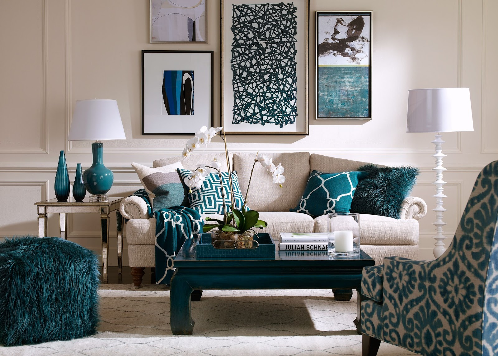 Image result for blue Turquoise  living room""