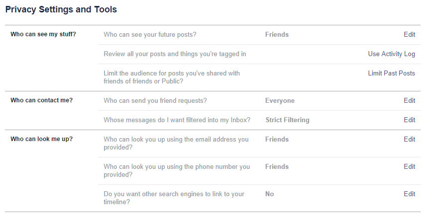 Screenshot of privacy settings and tools options
