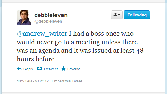 Debbie Leven - Twitter post on meetings