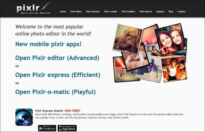 pixlr 16 Melhores Editores de Fotografia Gratis para Utilização Online