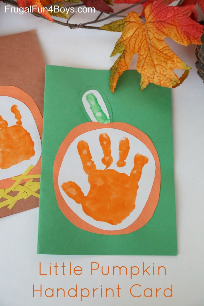 Pumpkin Handprint Greeting Card: These 25 Thanksgiving Crafts for Kids will get everyone into the thanksgiving spirit.