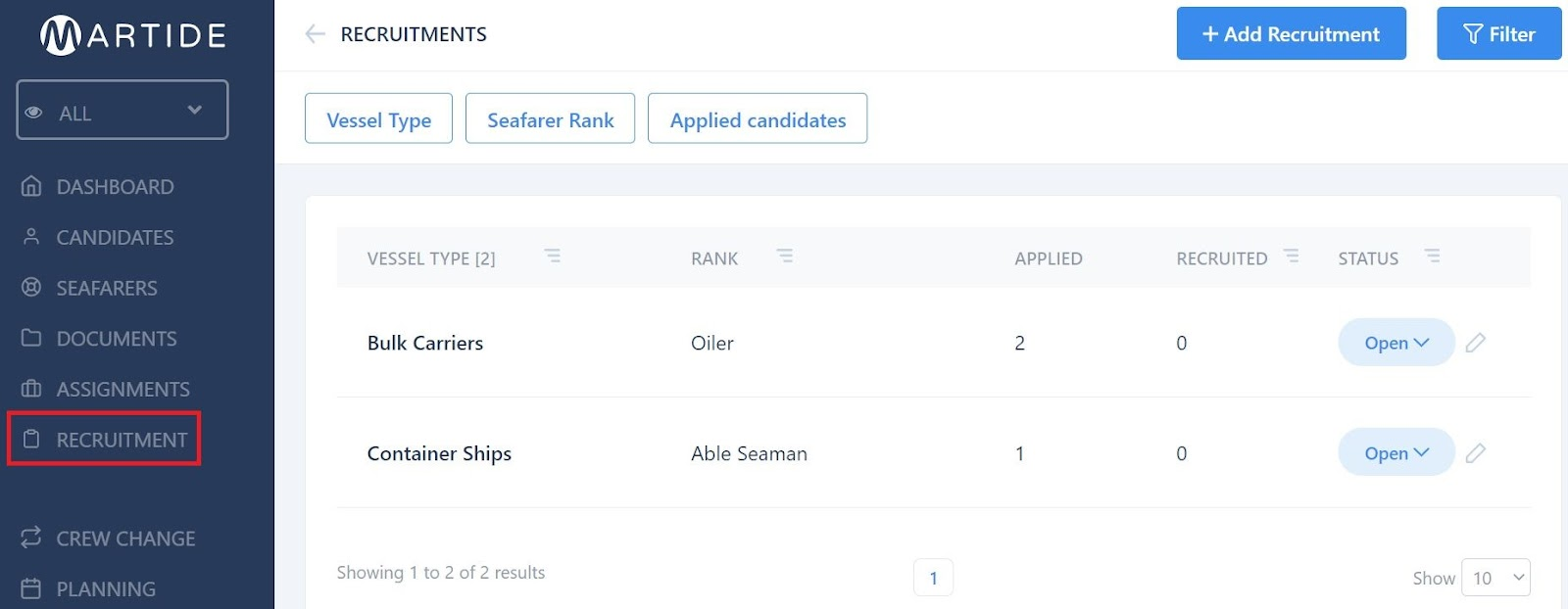screenshot of the main recruitments page.