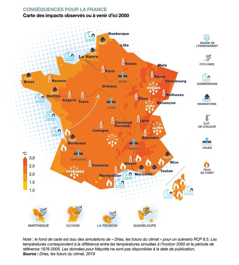 Rechauffement climatique France 2050