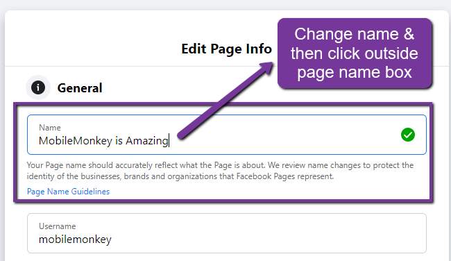 how to change Facebook Page name - step 5
