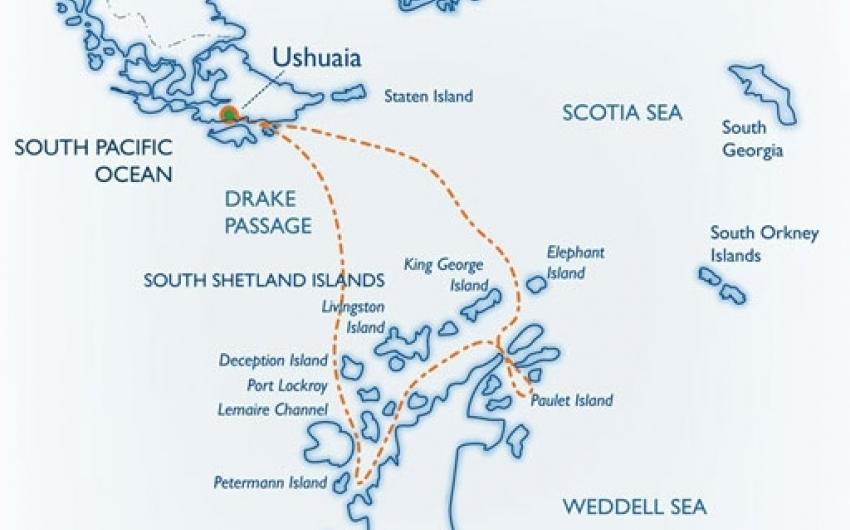 Itinerario de viaje a la Antartida