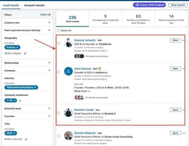 recherche linkedin sales navigator