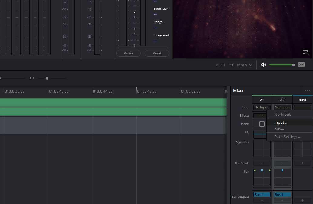 set input for recording in Davinci Resolve