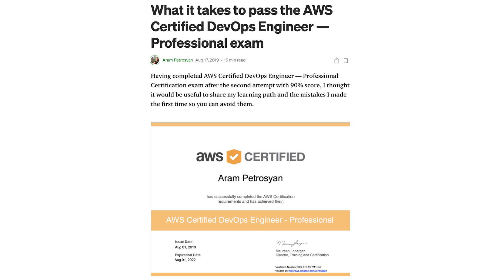 Certyfikat AWS DevOps Engineer