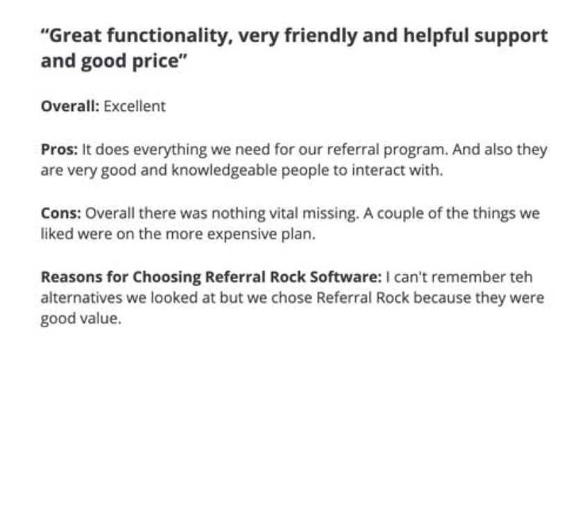 ReferralRock's inclusion of social proof for product reviews