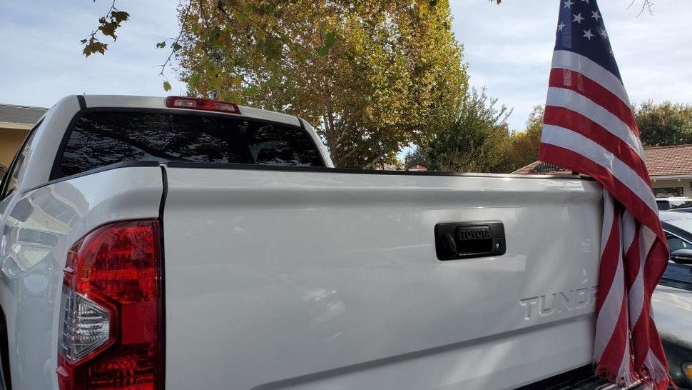 American Flag Pickup Truck