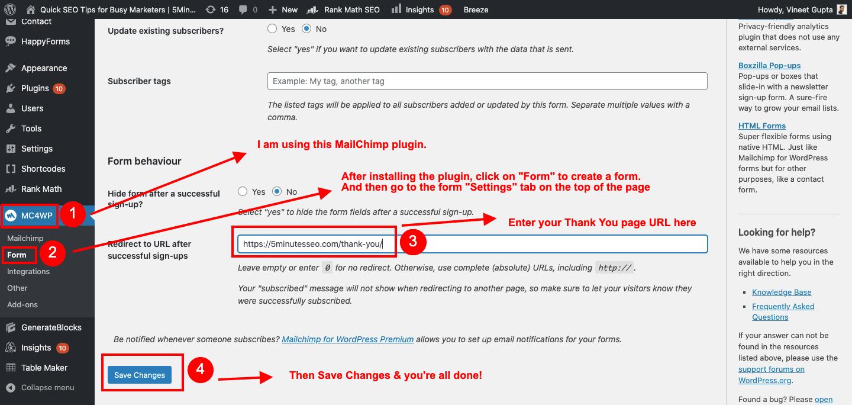 Install MailChimp plugin for WordPress