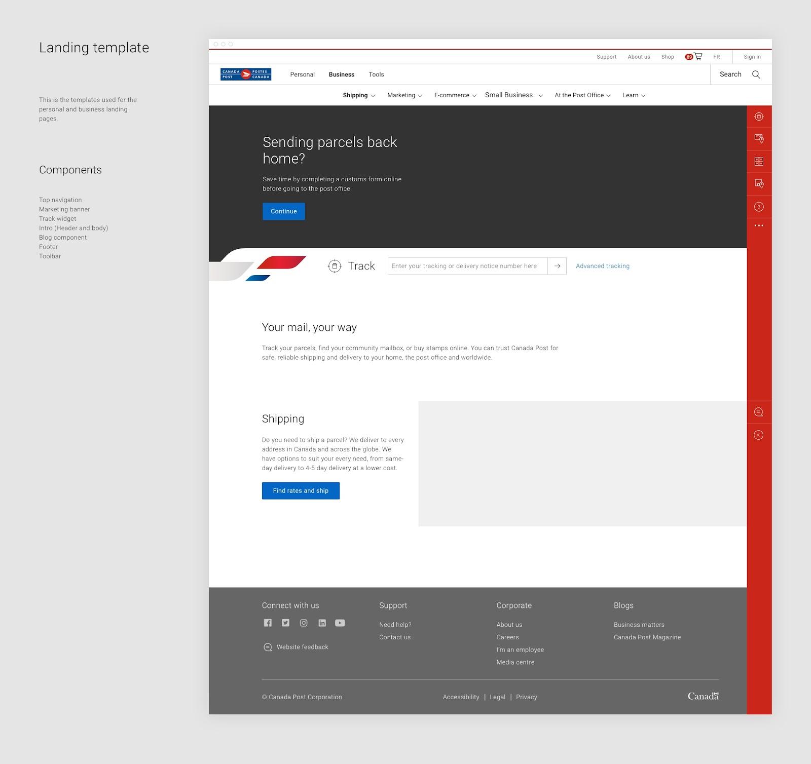 カナダポストのデザインキットには、テンプレートと各テンプレートで使用できるコンポーネントの使用例が含まれます。たとえば、このランディングページのテンプレートには、トップナビゲーション、マーケティングバナー、ブログコンポーネントなどが含まれています。