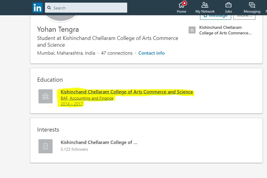 Yohan Tengra's LinkedIn Profile