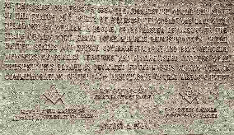 Pedra Maçonica na Estátua da Liberdade