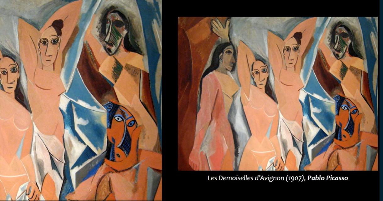 Les Demoiselles d'Avignon, 1907, by Pablo Picasso.