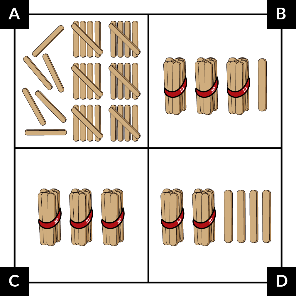 A: 6 groups of 5 craft sticks each and 6 single craft sticks. B: 3 bundles of 10 craft sticks each and 1 single craft stick. C: 3 bundles of 10 craft sticks each. D: 2 bundles of 10 craft sticks each and 4 single craft sticks.