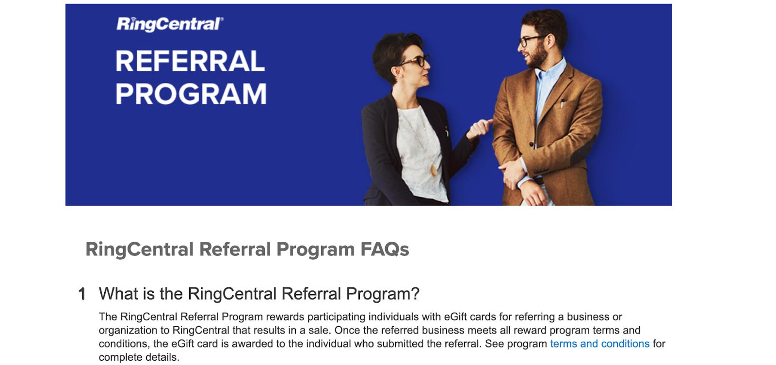ring central customer referral program FAQ